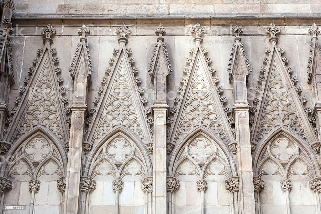 Details of Barcelona Cathedral in Gothic Quarter, Spain stock photo