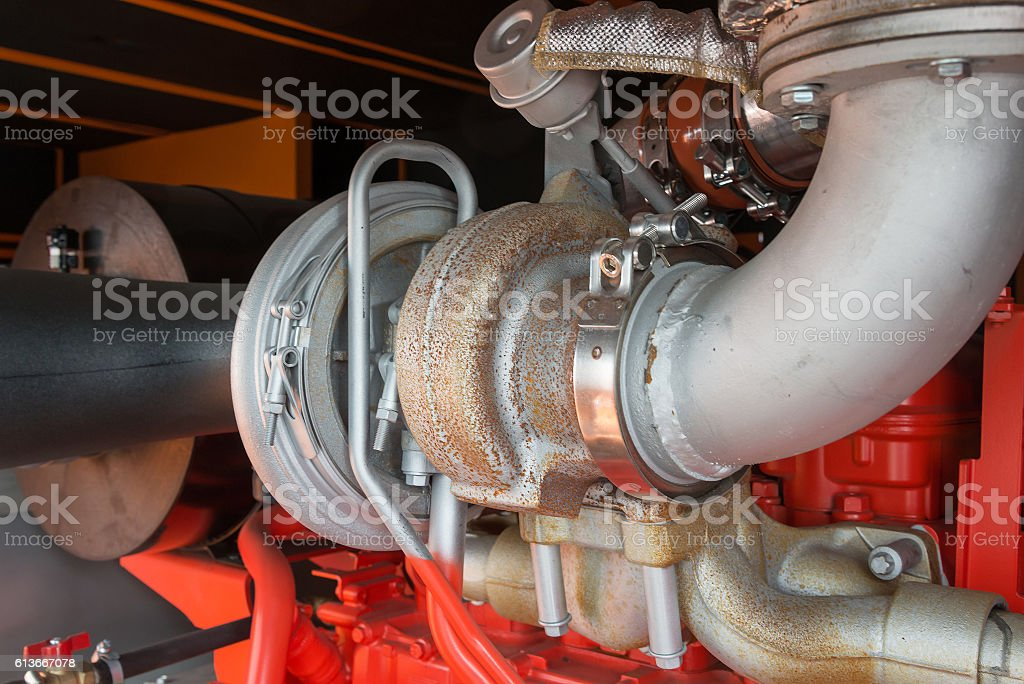 Details of  big industrial diesel engine stock photo