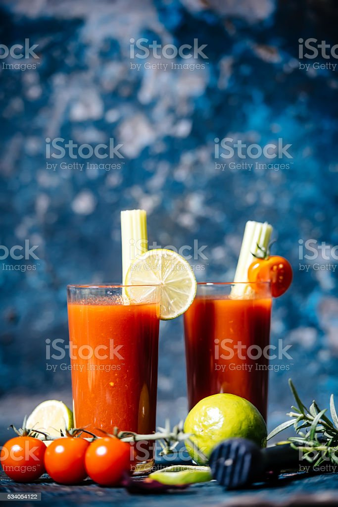 details of bloody mary cocktail served in restaurant and pub stock photo