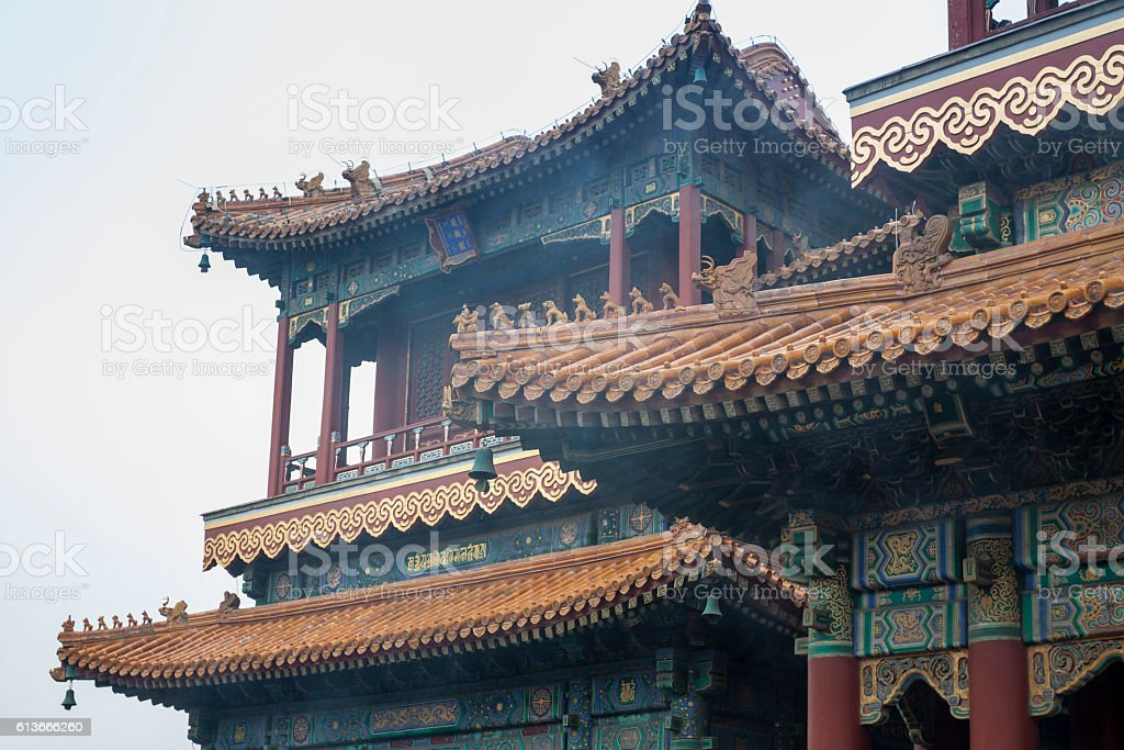 Details of building at Yonghegong temple in Beijing stock photo
