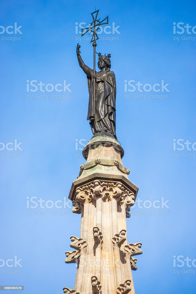 Details of Cathedral of the Holy Cross and Saint Eulalia stock photo