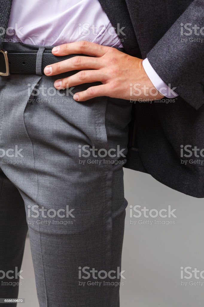 Details of classic clothes on a man close-up stock photo