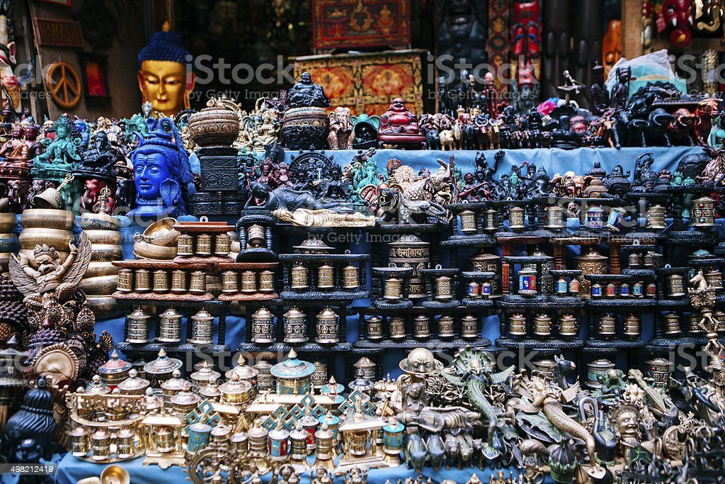 Details of curio shop in Nepal stock photo
