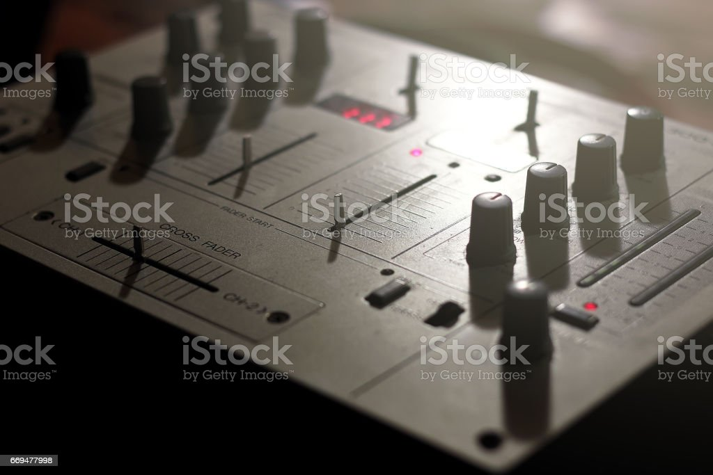 Details of elements and switches of a musical DJ keypad stock photo