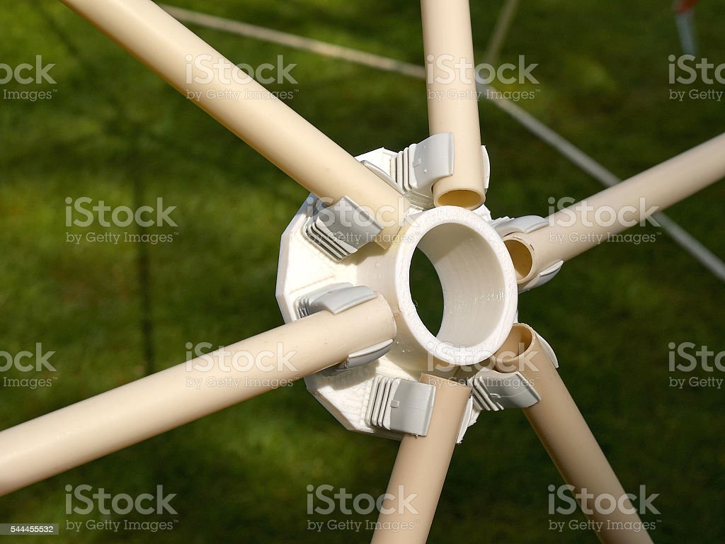 Details of geodesic dome roof structure stock photo