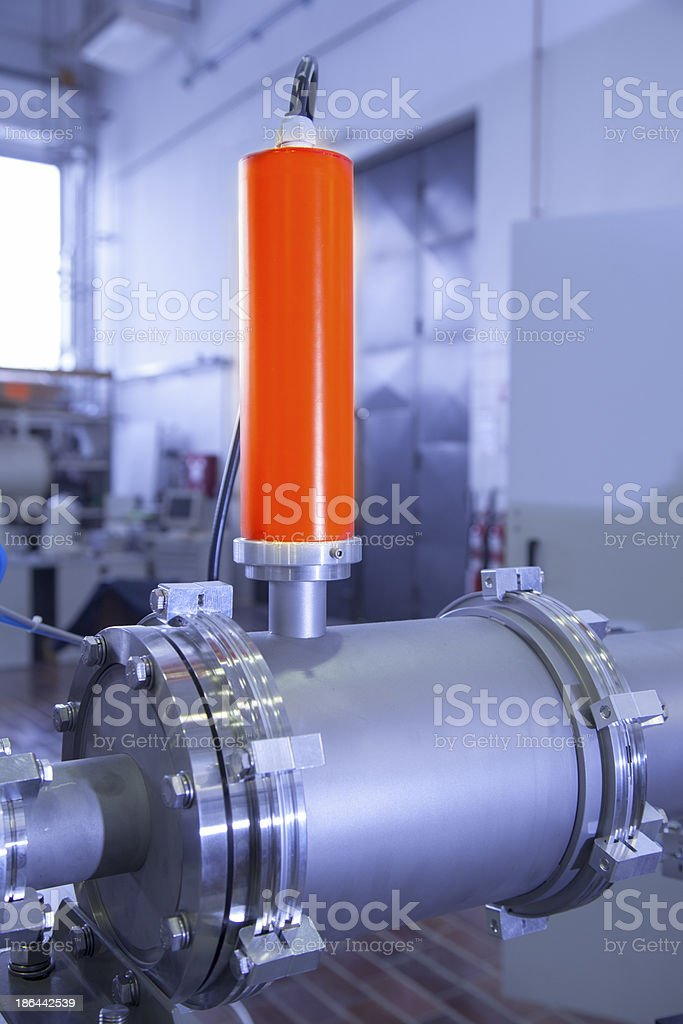 Details of  ION accelerator, industrial blue toned stock photo