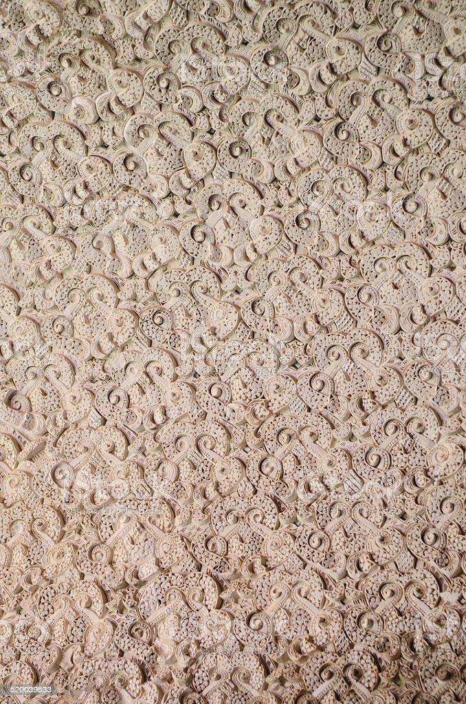 Details of Islamic ceramic geometric pattern(Arabesques) in The castle Gibralfaro stock photo