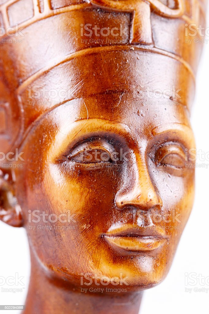 Details of isolated on white statue of pharaoh. stock photo
