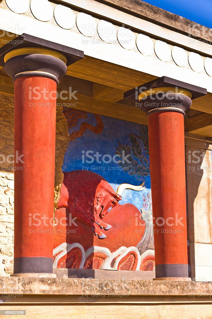 Details of Knossos palace near Heraklion, island of Crete stock photo