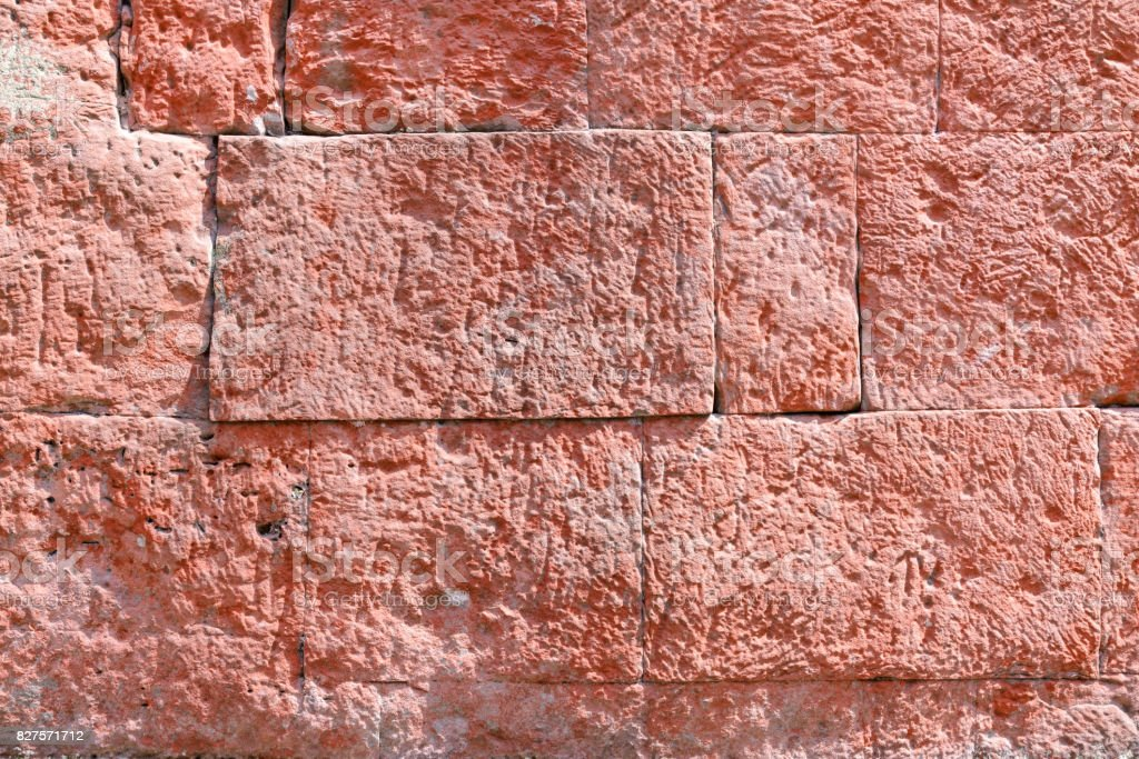Details of laterite wall stone, background and texture stock photo