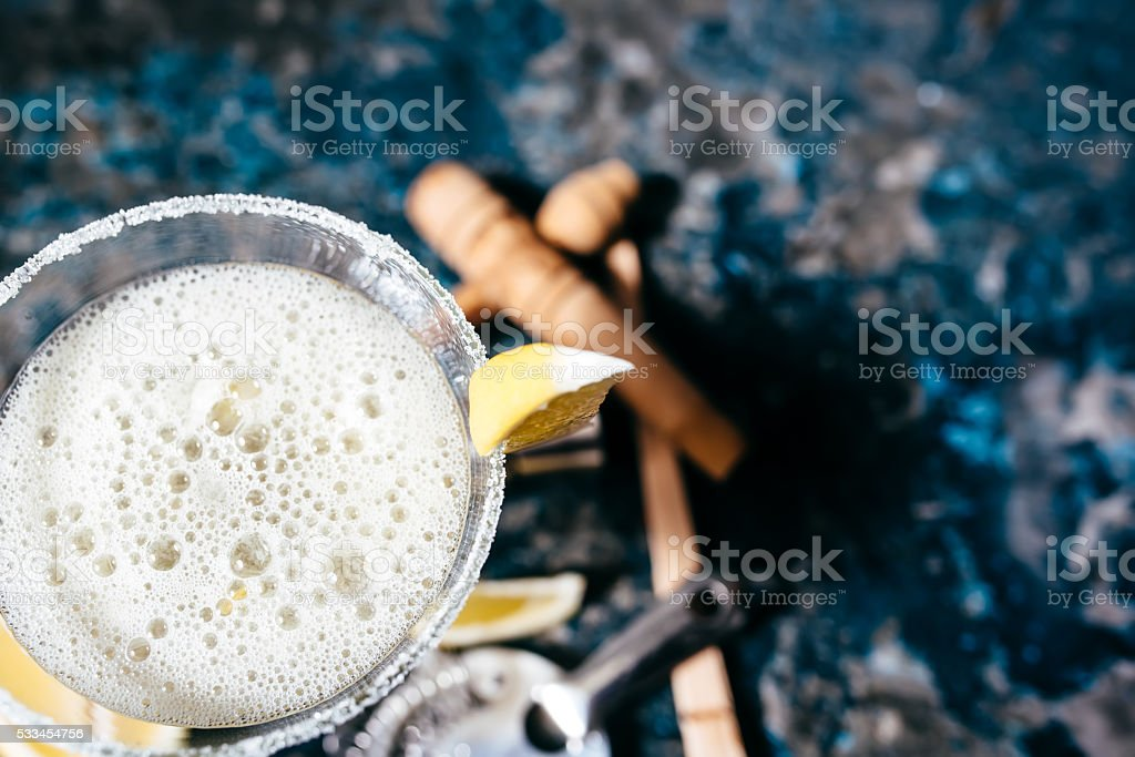 Details of margarita beverage, cocktail fancy drink stock photo