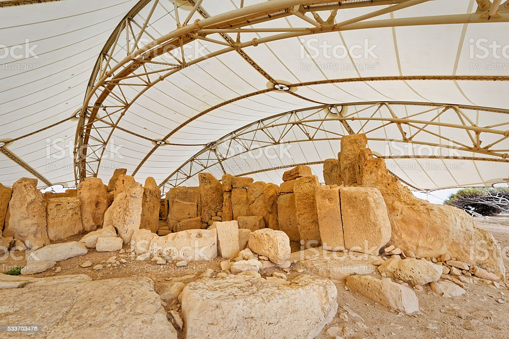 Details of megalithic temples of Malta (super wide angle) stock photo