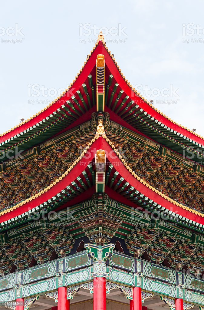 Details of National Concert Hall near Chiang Kai-shek Memorial H stock photo