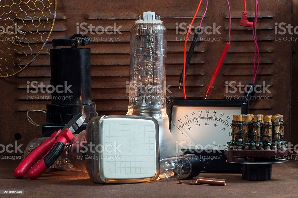 Details of old electrical equipment stock photo