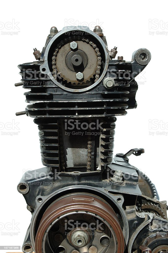 Details of old four stroke engine royalty-free stock photo