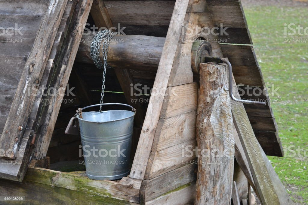 Details of old well stock photo