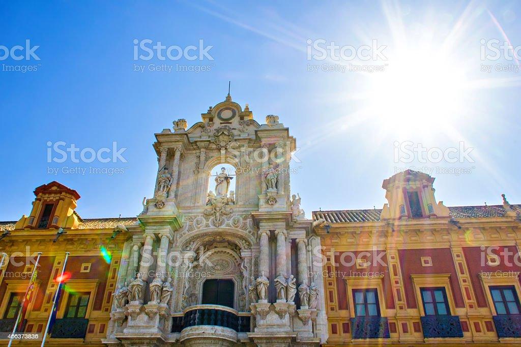Details of Palacio de San Telmo in Seville stock photo