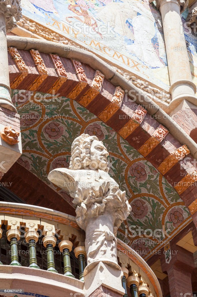 Details of Palau de la Musica Catalana, Barcelona, Spain stock photo