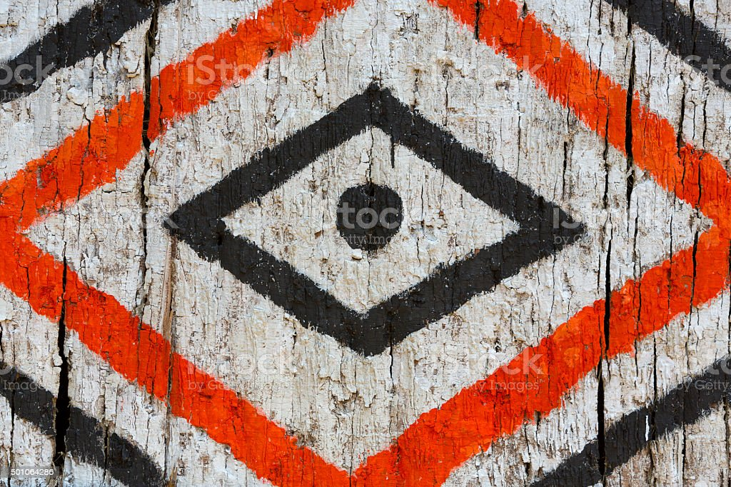 Details of patterns painted on indigenous house, Manaus, Brazil stock photo