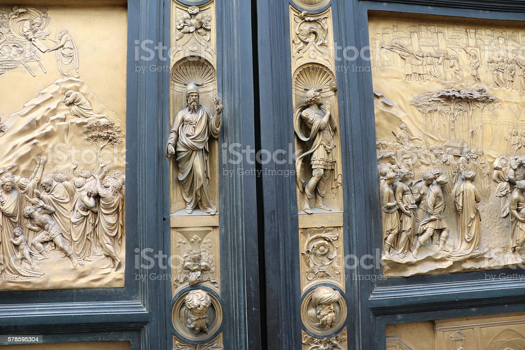 Details of Porta del Paradiso of Baptistery San Giovanni, Florence stock photo