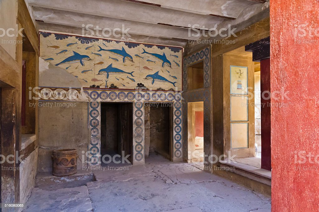 Details of queen's room at Knossos palace, island of Crete stock photo