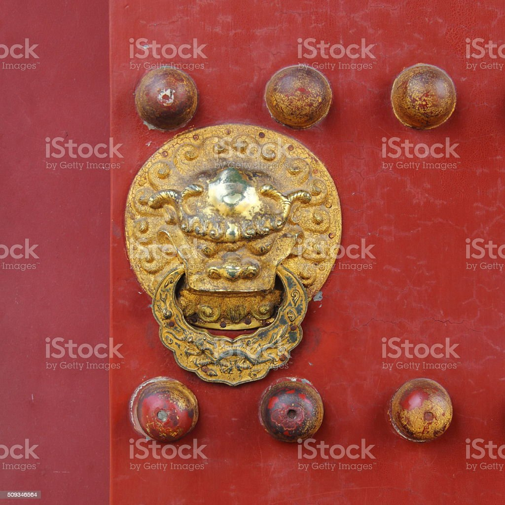 Details of red chinese door stock photo