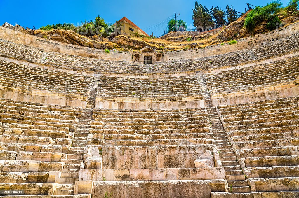 Details of Roman Theater in Amman stock photo