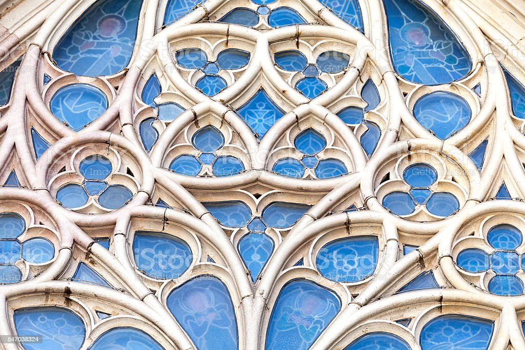 Details of rose window in  Barcelona Cathedral in Gothic Quarter, Spain stock photo
