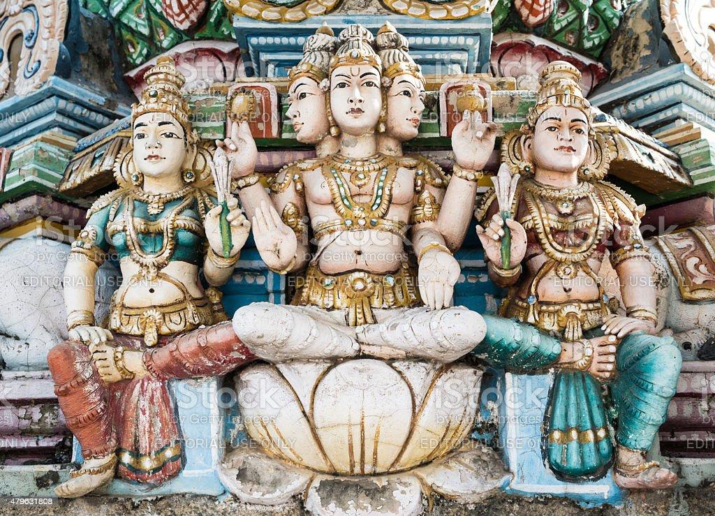 Details of sculptures on Kapaleeshwar Temple, Chennai, India. stock photo