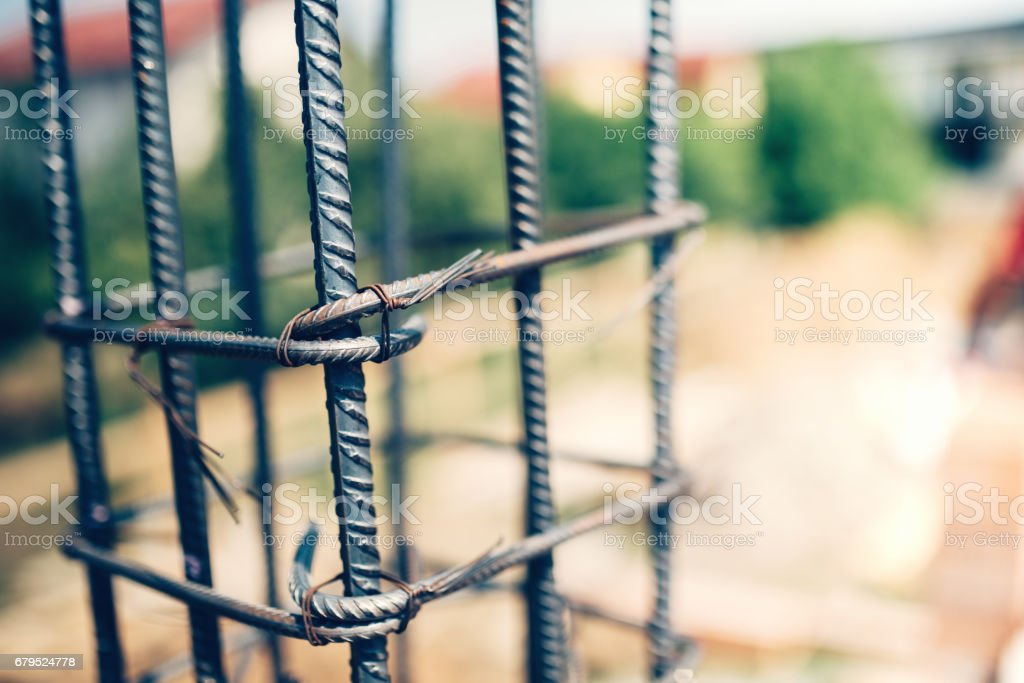 Details of steel reinforcement on construction site. stock photo