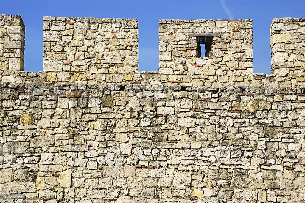 Details of stone fortress  in Belgrade royalty-free stock photo