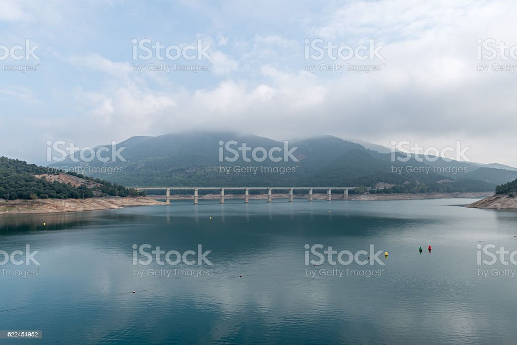 Details of the dam of Baells stock photo