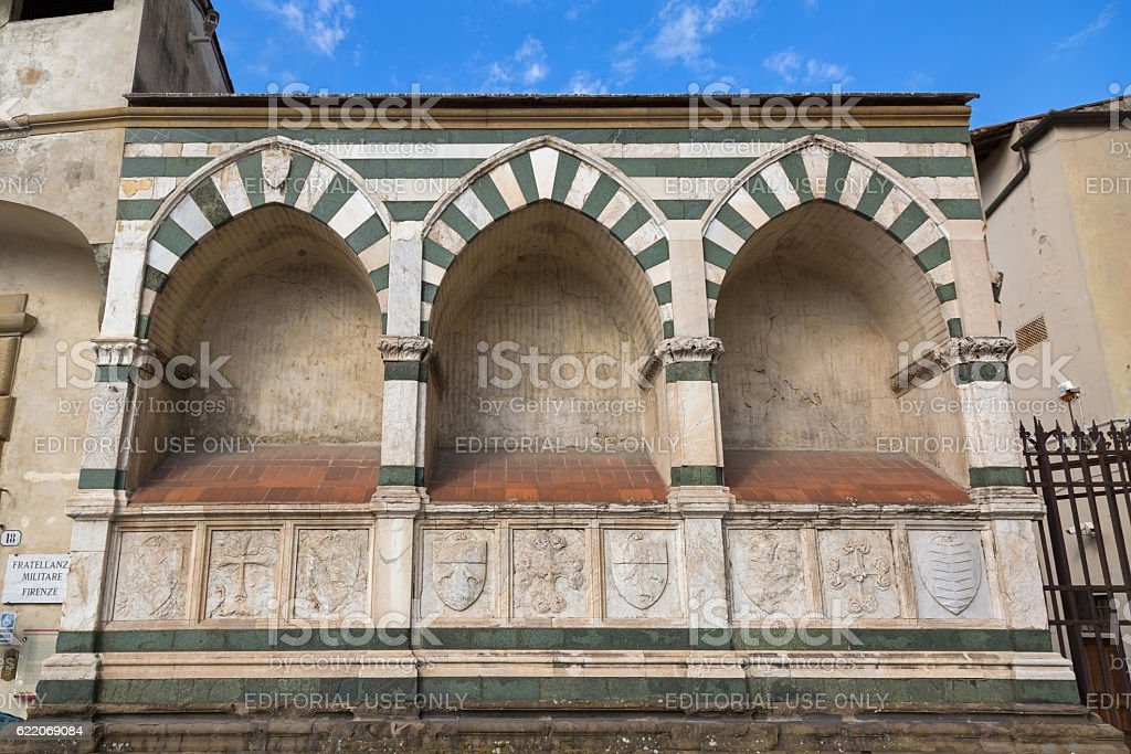 Details of the Holy Cross church external wall, Florence Italy stock photo
