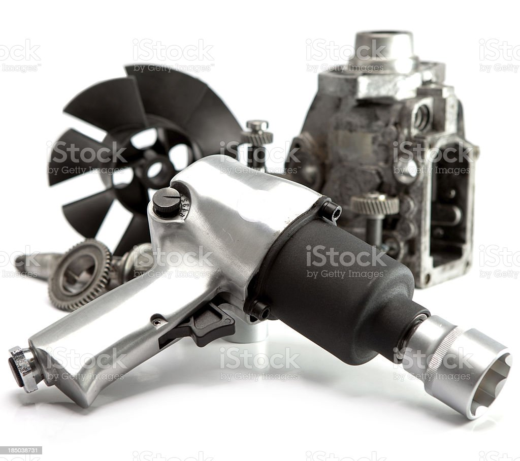 details of the pump  high pressure and air impact wrench stock photo