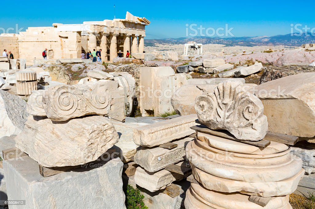 Details of the ruins in Acropolis, Athens stock photo