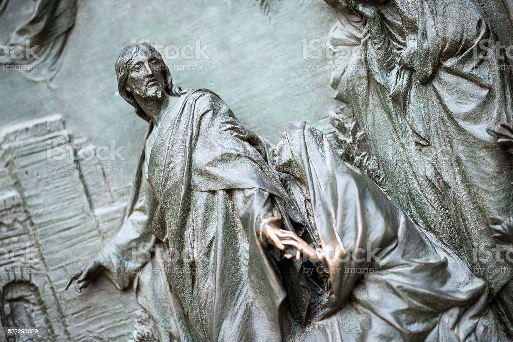 Details of the statues of Duomo di Milano's door stock photo