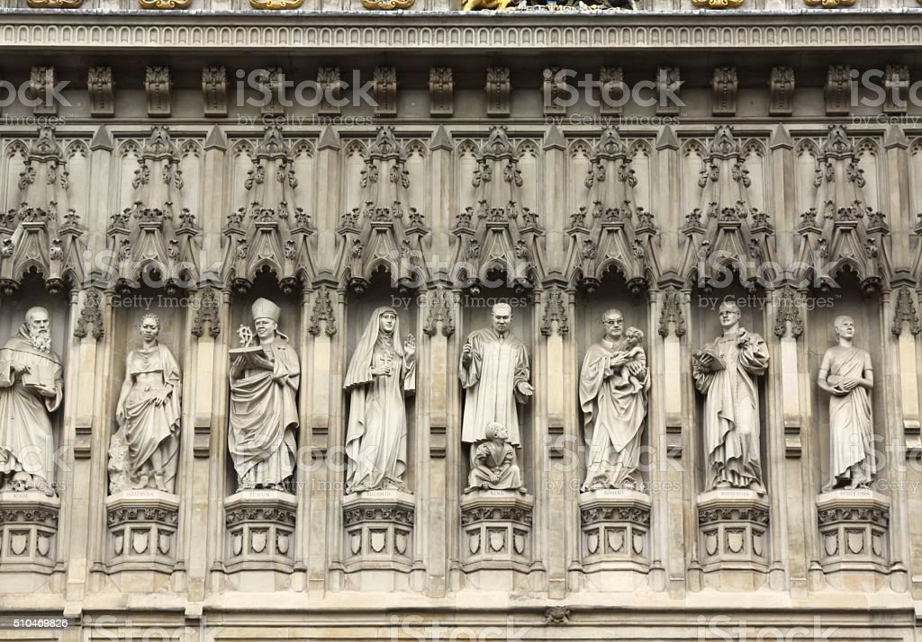 Details Of The Statues On Westminster Abbey stock photo