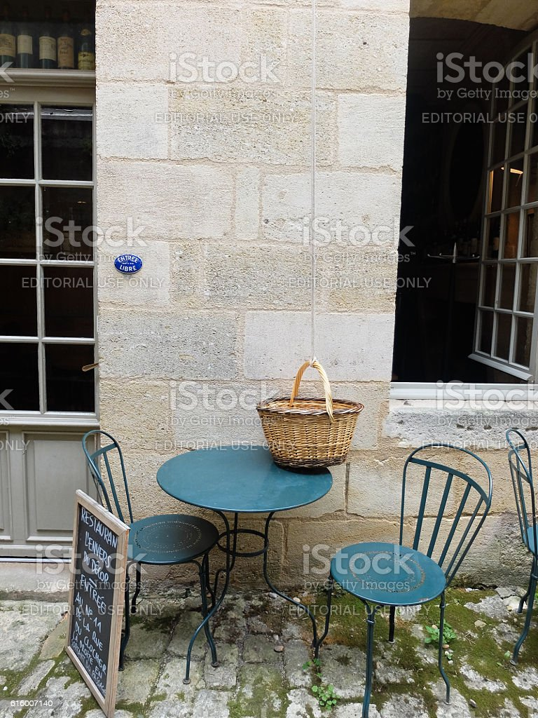 Details of the streets of sant Emilion in France stock photo