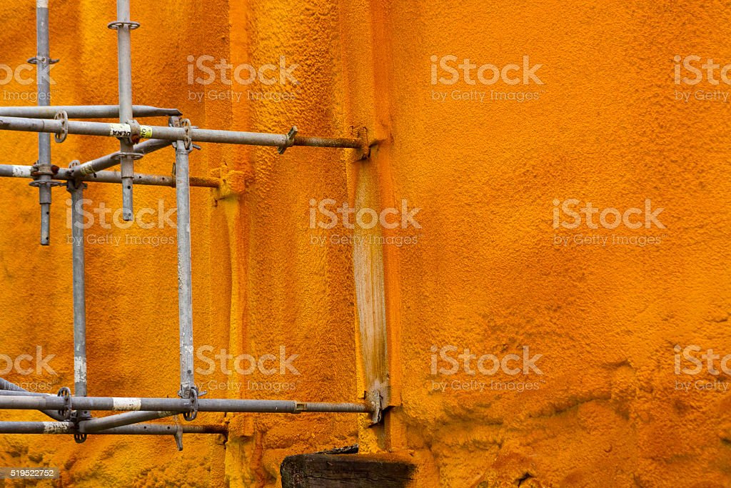 Details of the supports of an old facade works stock photo