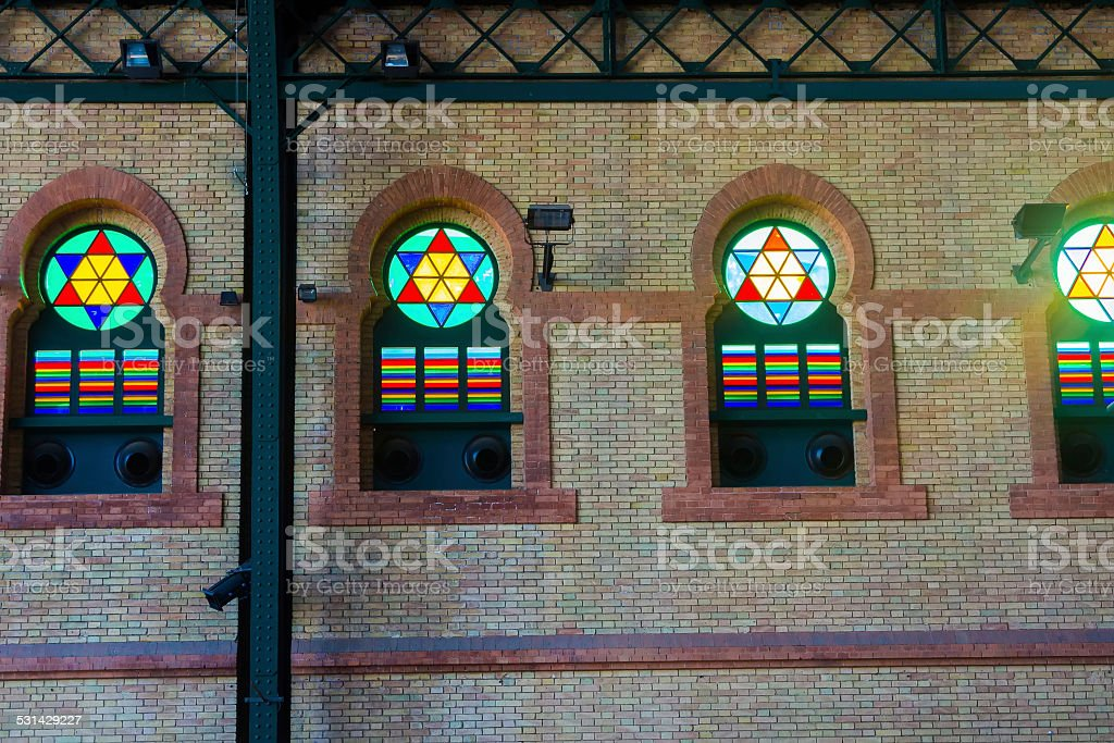 Details of the windows of the old train station stock photo