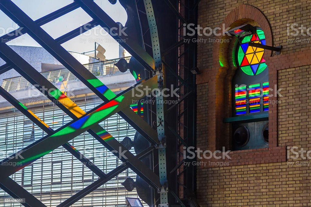 Details of the windows of the old train station Seville, stock photo