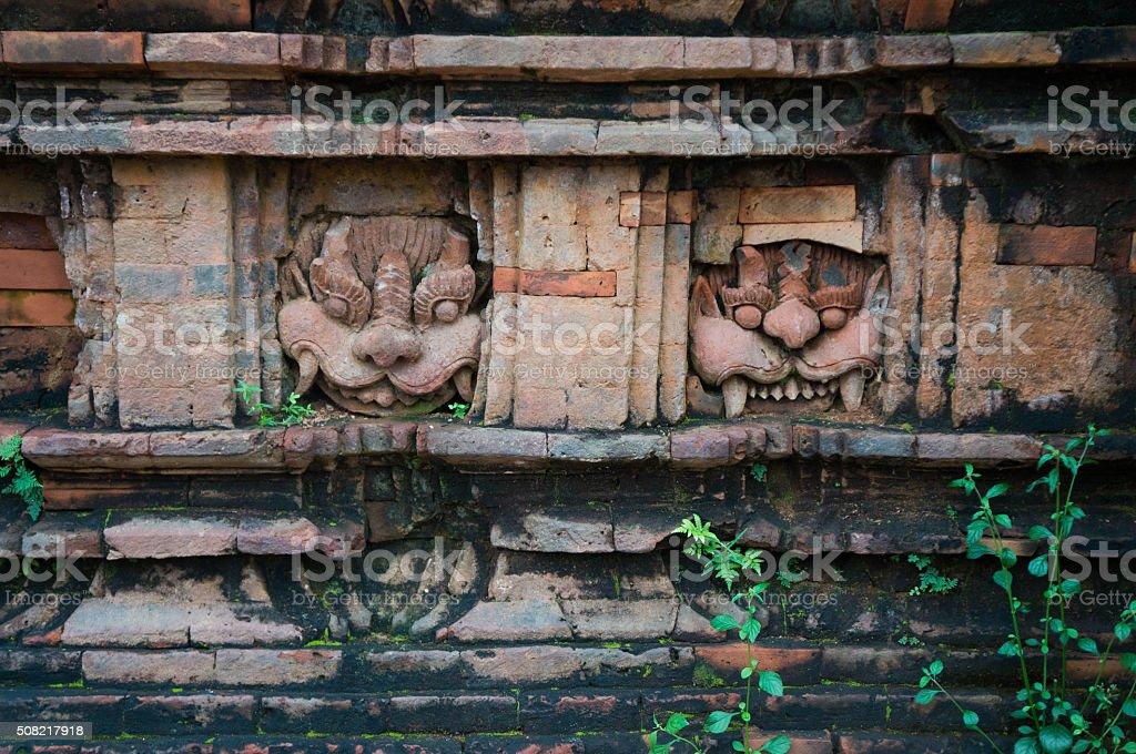 Details on a temple at My Son Sanctuary, Vietnam stock photo