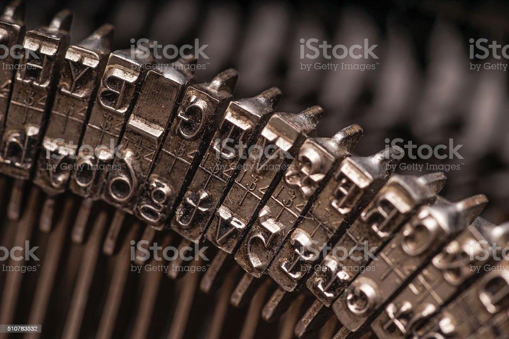 Details on antique typewriter stock photo
