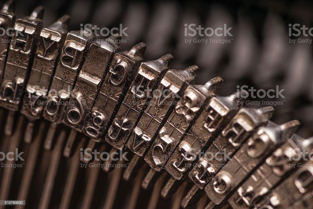 Details on antique typewriter stock photo