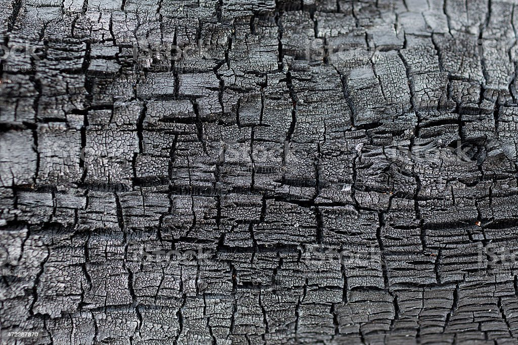Details patterned surface texture of the burned wood stock photo