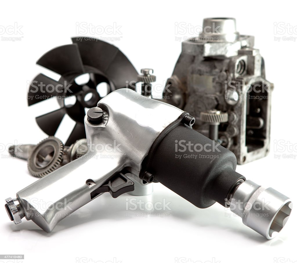 details  pump of high pressure and air impact wrench stock photo