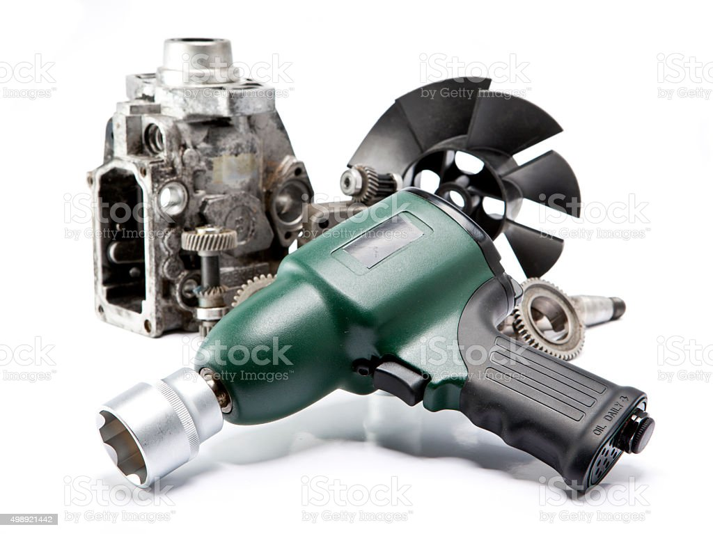 details  the pump of high pressure, air impact wrench stock photo