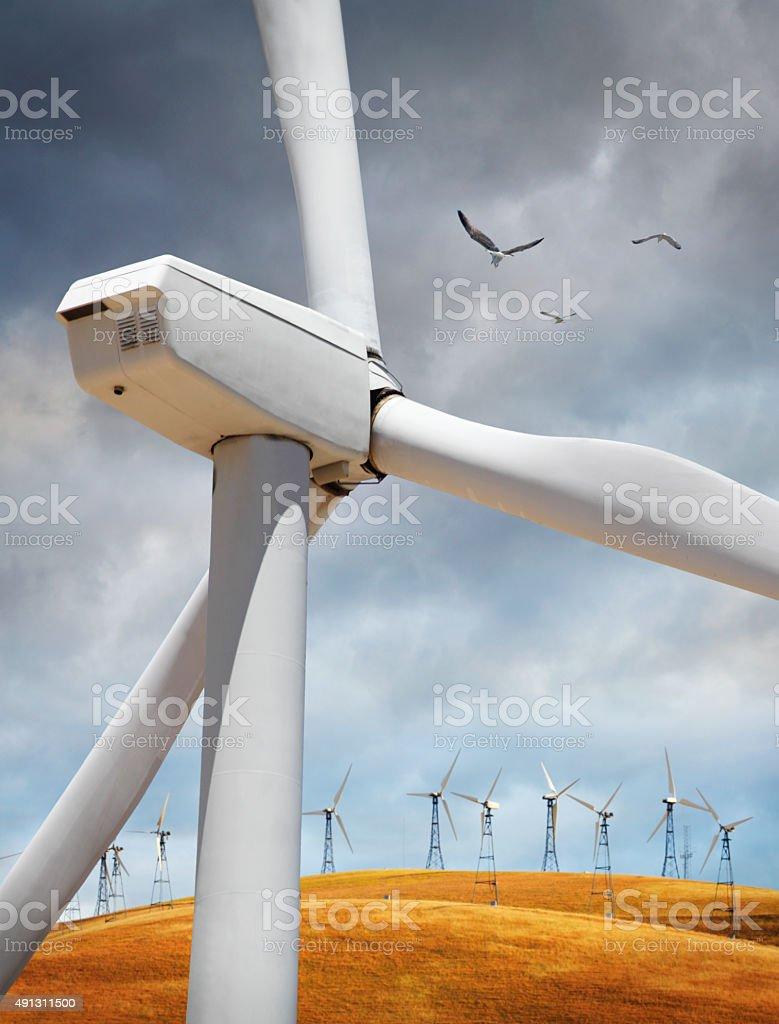 Detal of wind turbine in countryside stock photo