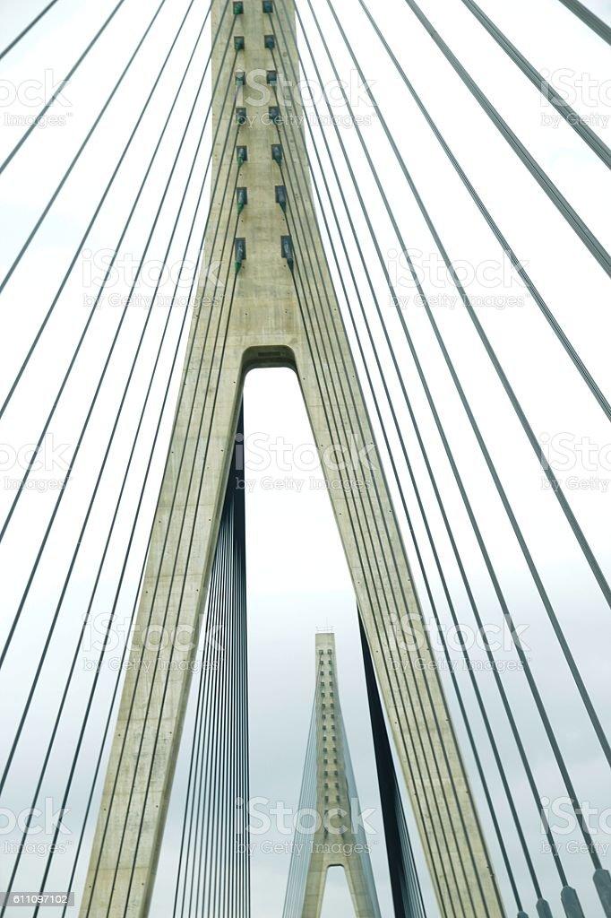 Detalle, tirantes del puente de Ayamonte stock photo