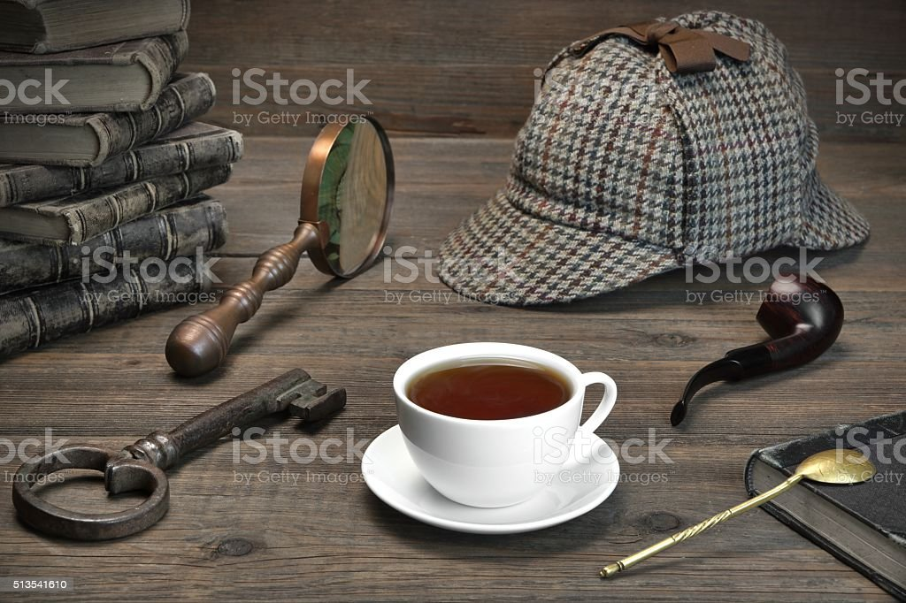 Detecrive or Investigation Concept.  Tools On The Wood Table stock photo